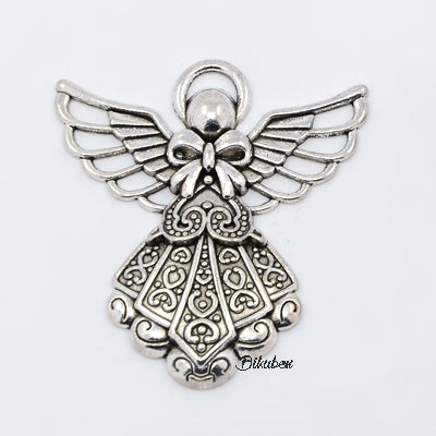 Charms - Antique Silver - Ornate Angel