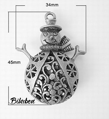 Charms - Antique Silver - Ornate Snowman