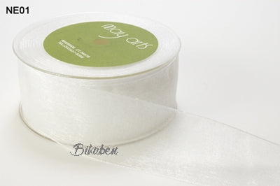 May Arts - Sheer Ribbon with Nylon Edge - White METERSVIS