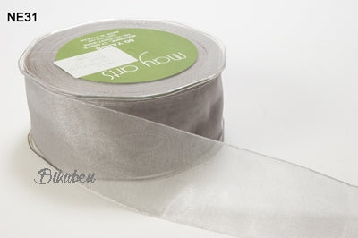May Arts - Sheer Ribbon with Nylon Edge - Silver - METERSVIS