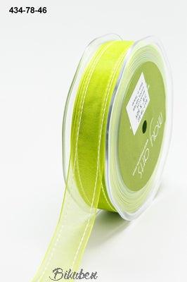 May Arts - Sheer Stiched Edge Ribbon - Celery Green - METERSVIS