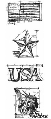 Tim Holtz Collection - Mini Blueprints - Americana Strip Stamps