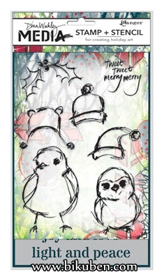 Ranger - Dina Wakley - Stamps & Stencil Set - Scribbly Holiday Birdies