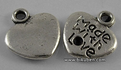 Charms - Antique Silver - Made With Love Hearts