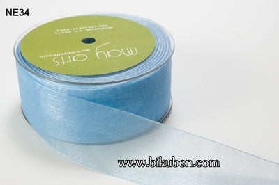 May Arts - Sheer Ribbon with Nylon Edge - Light Blue - METERSVIS