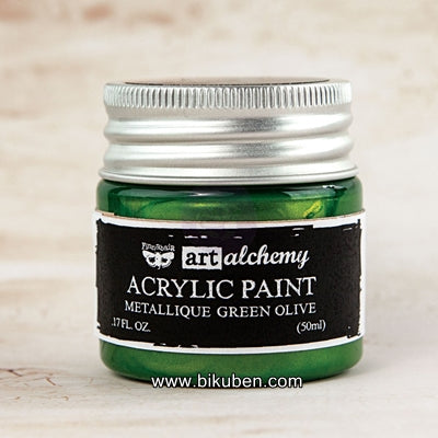 Prima - Art Alchemy by Finnabair - Acrylic Paints - Metallique Green Olive