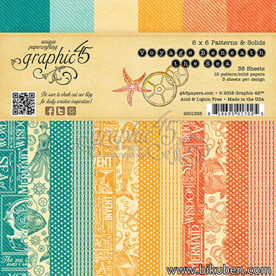 "Graphic45 - Voyage Beneath the Sea  - 6x6"" Patterens & Solids Paper Pad"
