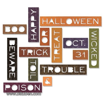 Sizzix - Tim Holtz Alterations - Thinlits - Halloween Words - Thin