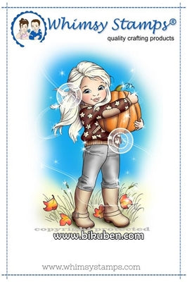 Whimsy Stamps - Cling Mount - Girl and her Pumpkin