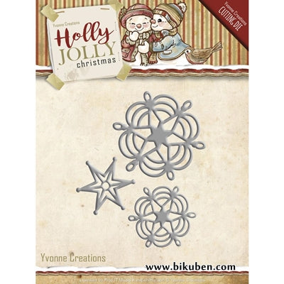 Yvonne Creations - Holly Jolly Snowflake & Star Dies