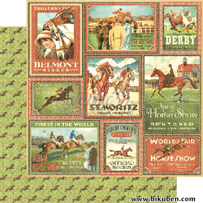Graphic45 - Off to the Races - Belmont Stakes 12x12""