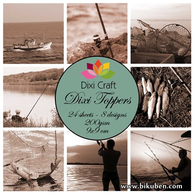Dixi Craft - Toppers - Fishing - Sepia (9cm x 9cm)