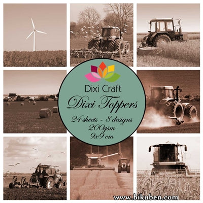 Dixi Craft - Toppers - Tractor - Sepia (9cm x 9cm)