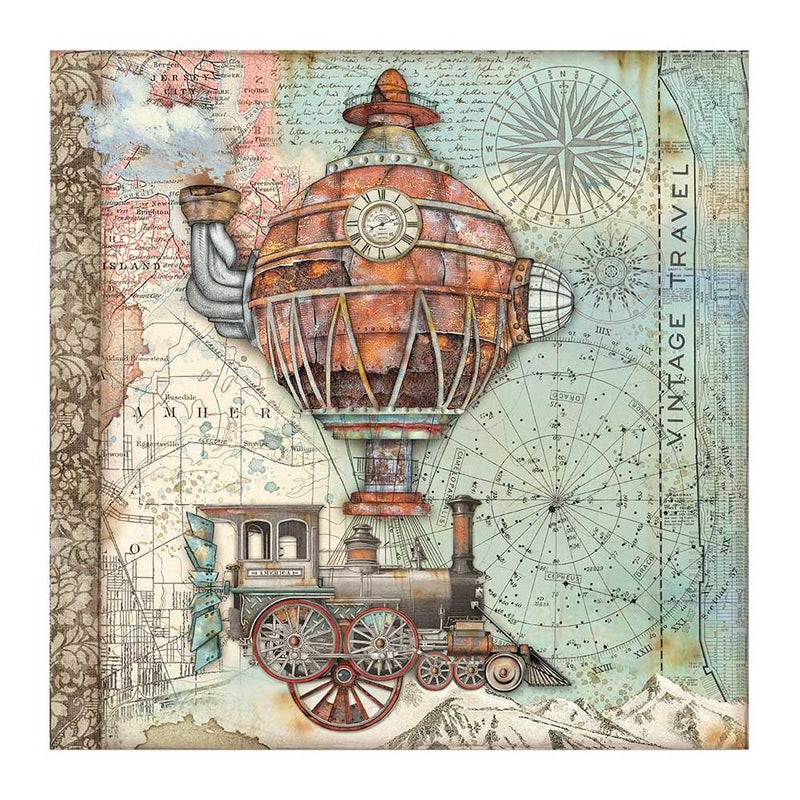 Stamperia  - Sir Vagabond -  Flying Train -   12 x 12""