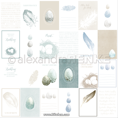 Alexandra Renke - Eggs and Feathers Cut Outs  Paper   12 x 12""