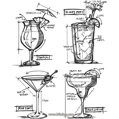 Tim Holtz Collection: Cling Stamps - Cocktails Blueprint