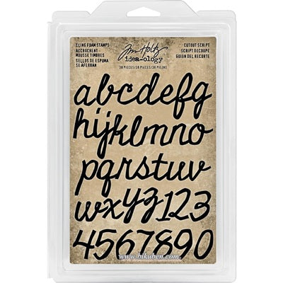 Tim Holtz - Idea-Ology -Cling Foam Stamps - Cutout Script Alpha & Numbers