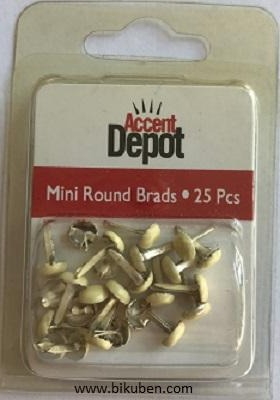 Hot of the Press - Accent Depot - Ivory Round Mini Brads