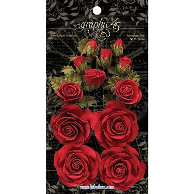 Graphic45: Staples - Paper Roses - Red