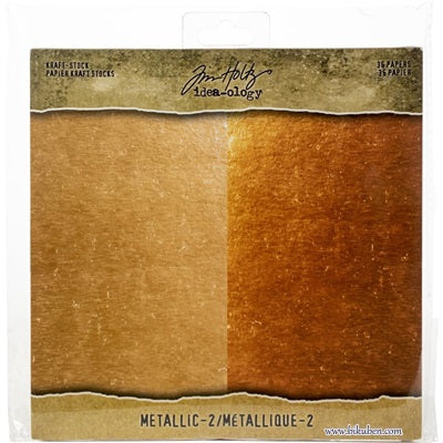 Tim Holtz - Kraft-Stock - Metallic Collection -  Rose Gold & Copper   8 x 8""