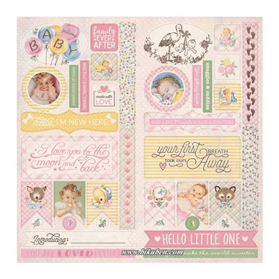 Authentique - Swaddle Girl- Die Cut Elements     12 x 12""