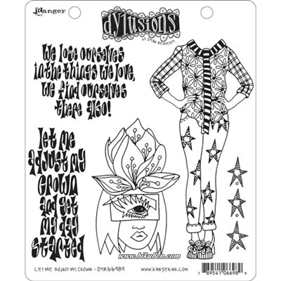 Dylusions - Cling Stamps - Let me adjust my crown