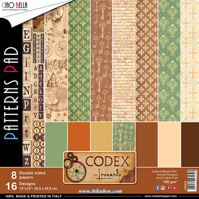 Ciao Bella - Codex Leonardo - Patterns Pad   12 x 12""