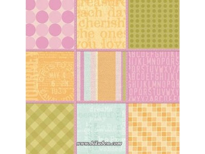 K & Company: Stitched Squares Embossed Paper    12 x 12""