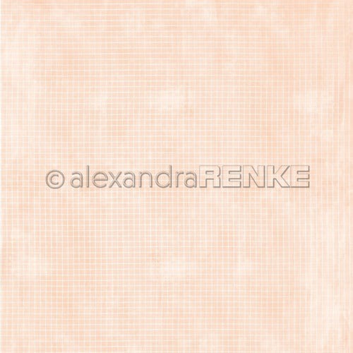 Alexandra Renke - Checkered on Orange- 12 x 12""