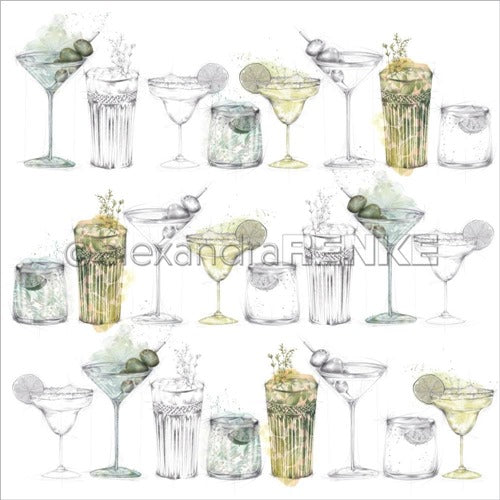 Alexandra Renke - Cocktails Collection - Green Cocktail Sketches  -  12 x 12""