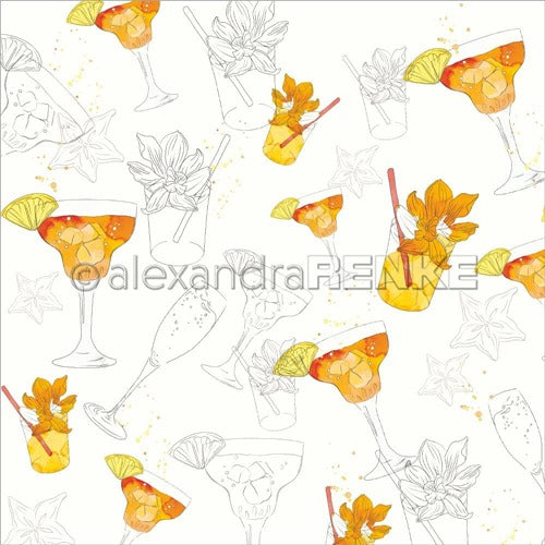 Alexandra Renke - Cocktails Collection - Fizzy Orange Margarita  -  12 x 12""