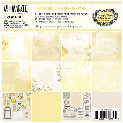 49 and Market - Vintage Artistry Butter - Collection Pack  6 x 6""