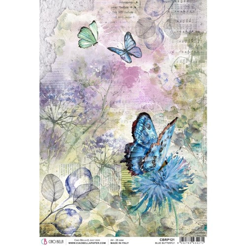 Ciao Bella - Microcosmos - Blue Butterfly - Rice Paper A4