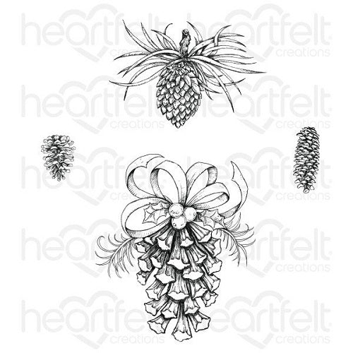 Heartfelt Creations - Cling Stamps - Festive Pine Cones