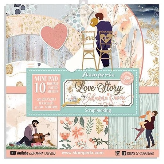 Stamperia - Love Story - Paper Pad   - 8 x 8""