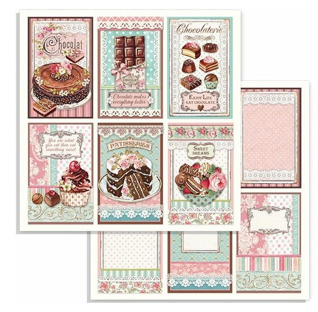 Stamperia - Sweety - Chocolate Cards  - 12 x 12""