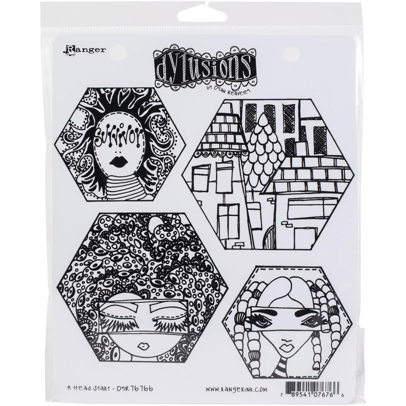 Dylusions - Cling Stamps - A head start