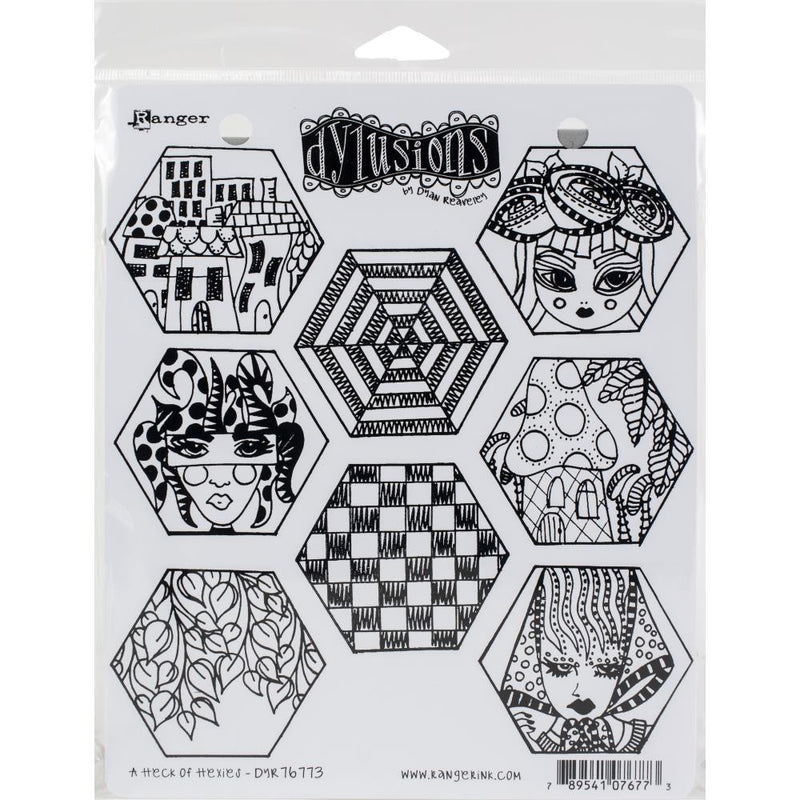 Dylusions - Cling Stamps - A heck of hexies