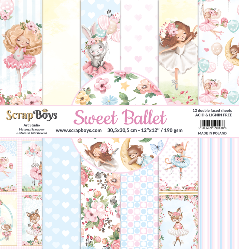 Scrapboys - Sweet Ballet - Paper Pack  (12 ark) -  12x12""