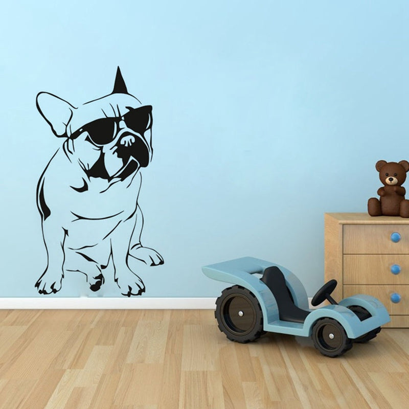 Removable Black Cool French Bulldog Dog Wall Sticker Decal Art Home Kids Boys Bedroom Decor DIY