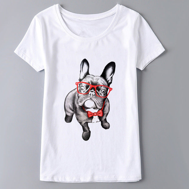 French Bulldog T-shirt Women Tops Short Sleeve O-neck