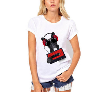 Women Summer Short Sleeve T-shirts French Bulldog T-shirt Bad Dog Shirts
