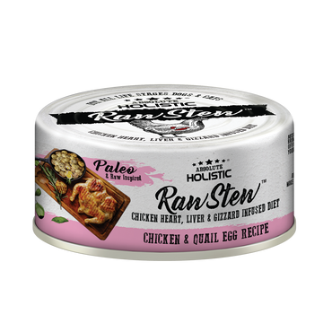 Absolute Holistic Chicken & Quail Egg Raw Stew Cat & Dog Canned Food 80g