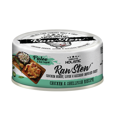 Absolute Holistic Chicken & Shellfish Raw Stew Cat & Dog Canned Food 80g
