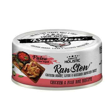 Absolute Holistic Chicken & Fish Roe Raw Stew Cat & Dog Canned Food 80g