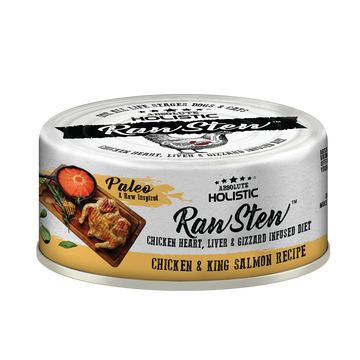 Absolute Holistic Chicken & King Salmon Raw Stew Cat & Dog Canned Food 80g