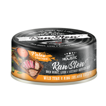 Absolute Holistic Wild Tuna & King Salmon Raw Stew Cat & Dog Canned Food 80g