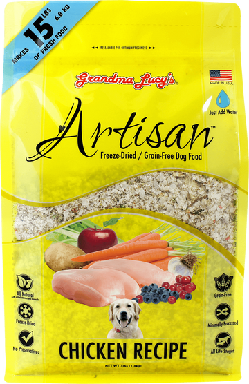 Grandma Lucy's Artisan Chicken Grain-Free Freeze Dried Dog Food 3lb