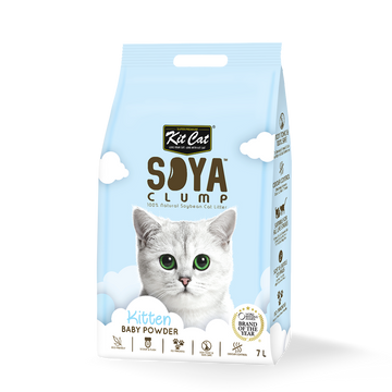 Kit Cat Soya Clump Cat Litter Baby Powder 7L (Bundle of 6)