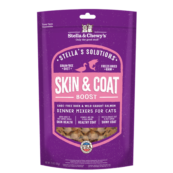 Stella & Chewy's Stella's Solutions Skin & Coat Boost Duck & Salmon Freeze-Dried Cat Food 7.5oz